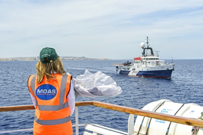 File photo: MOAS co-founder Regina Catrambone looks on in this 2015 photo as the MOAS ship the Phoenix sets off on her six-month operation
